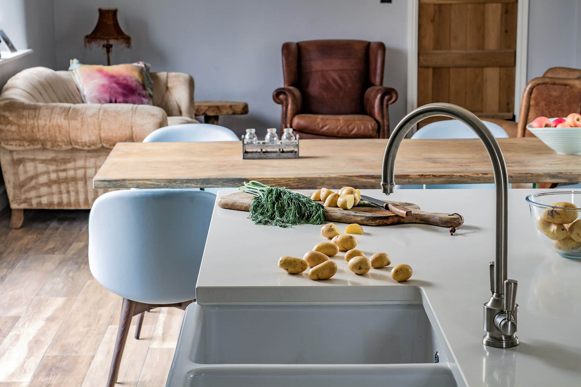 Rockhouse Barn conversion Shaker Kitchen with Shaws classic double Belfast sink and Abode mixer tap