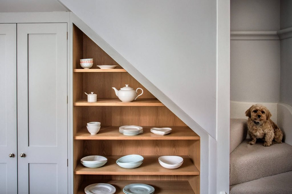 Rockhouse Barn conversion Shaker Kitchen with bespoke under stair shelving cabinet