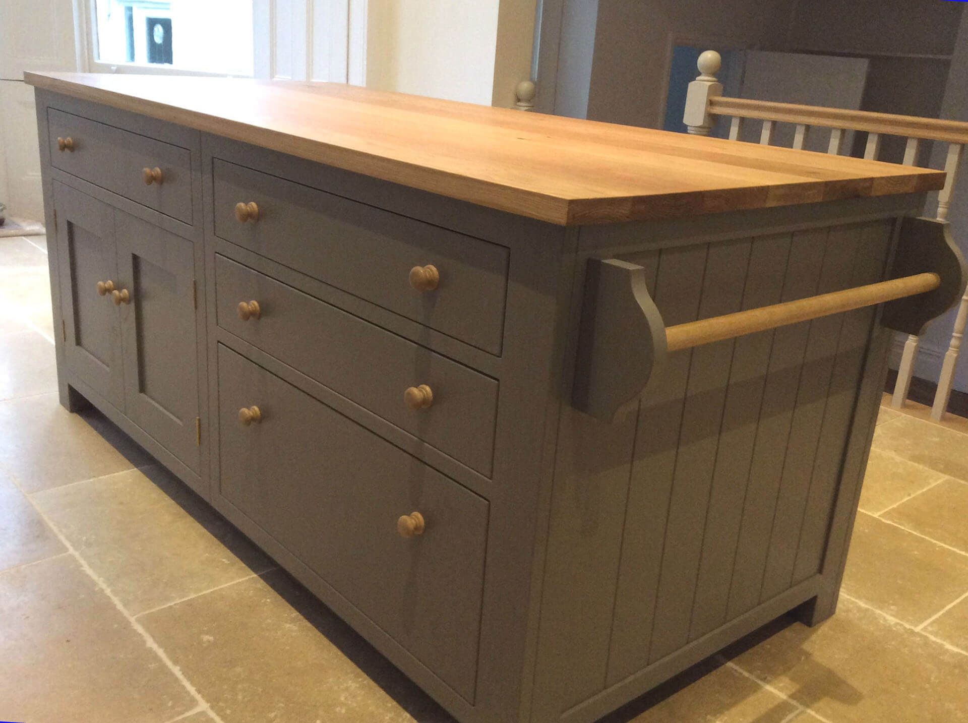 shaker kitchen with freestanding centre island
