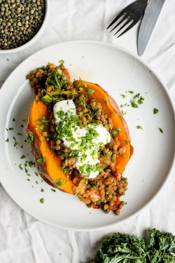 Stuffed Sweet Potatoes with Lentils, Kale and Sun Dried Tomatoes