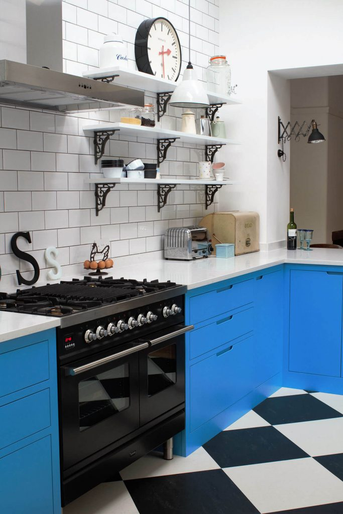 American Diner Style Industrial Kitchen feel and metro tile wall