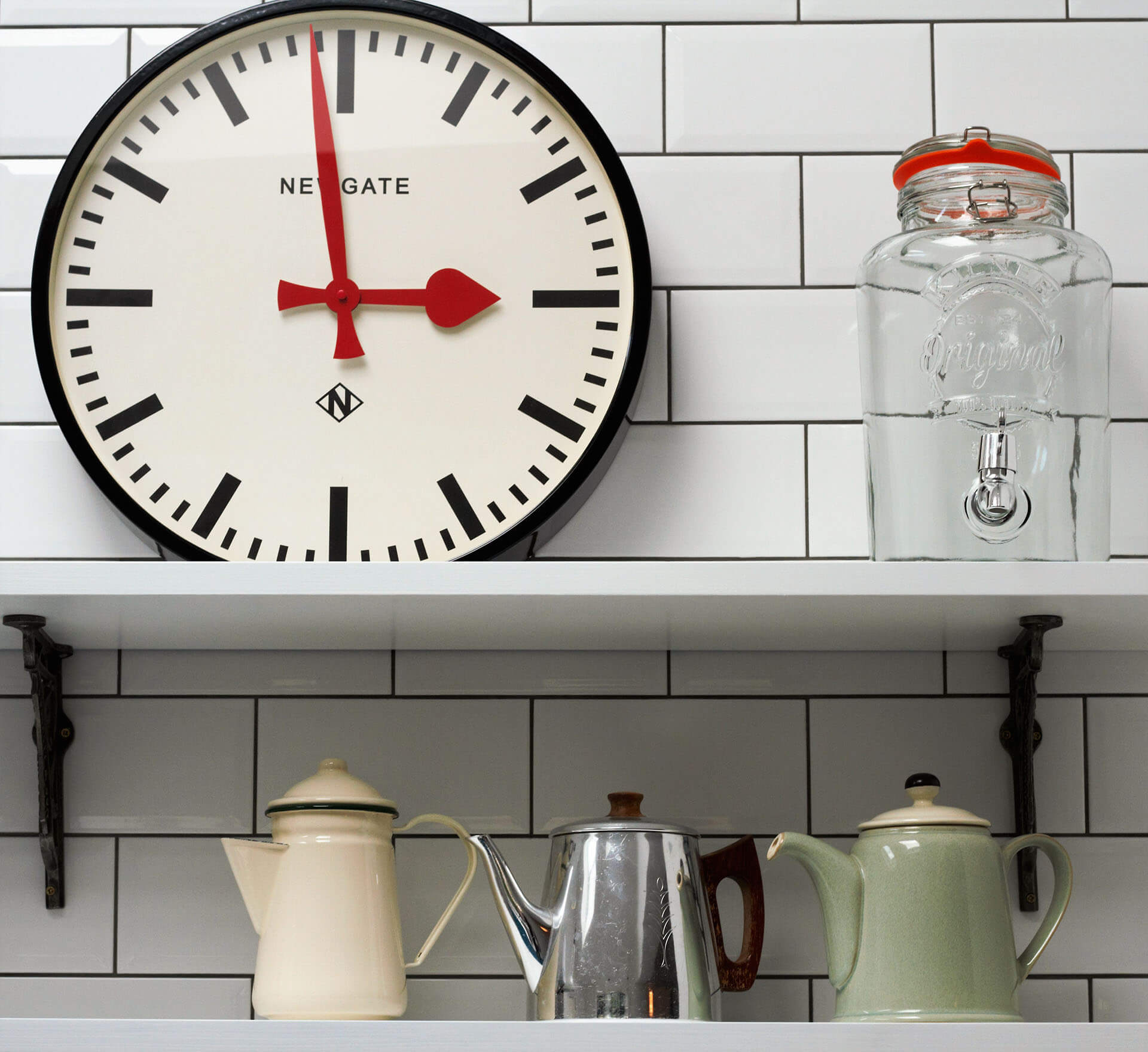American Diner Style Industrial Kitchen feel with white metro tile walls and vintage shelving