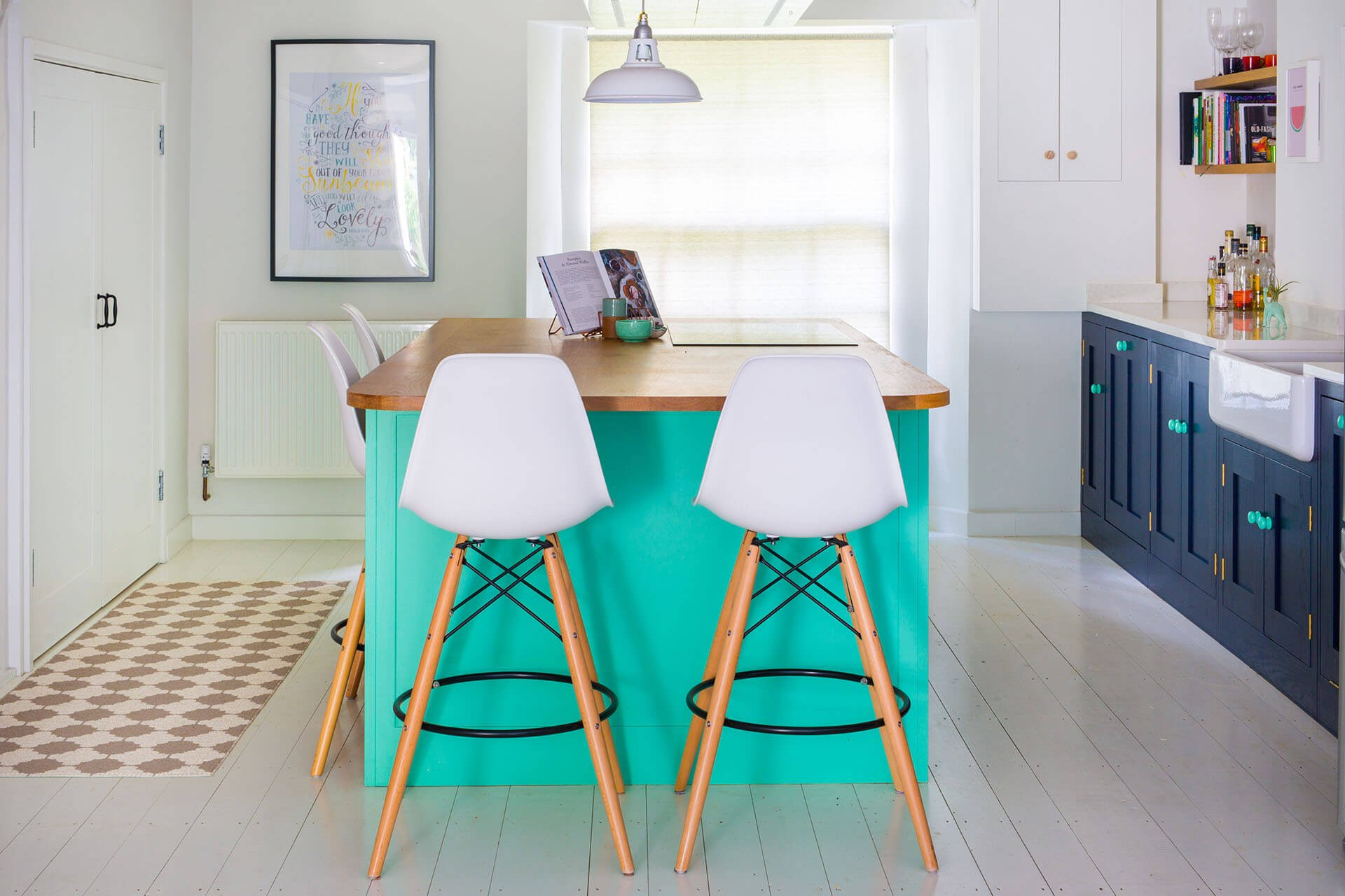 Colourful fun Shaker kitchen with kitchen centre island painted in Little Green's Green Verditer with Oak worktop