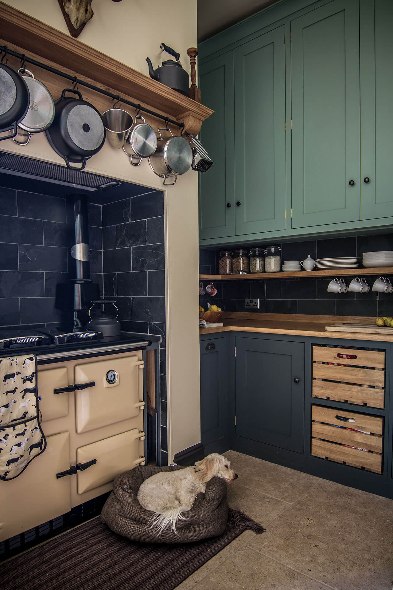 Cotswold Chapel Kitchen with traditional aga and slate tile surround
