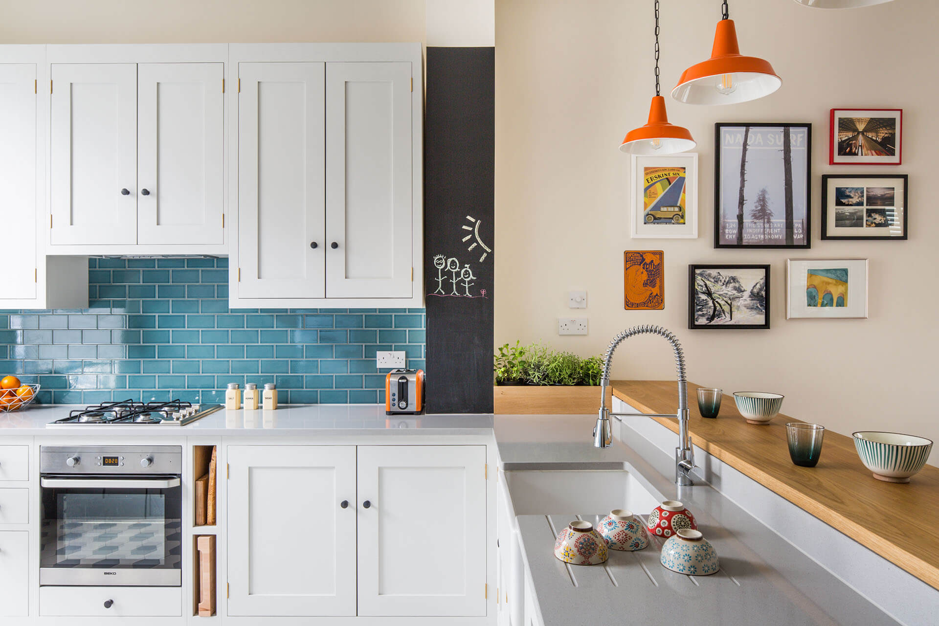 Quirky retro Shaker kitchen with Mullan Hex Pendant lighting, Quartz worktop and Shaws Classic Belfast sink