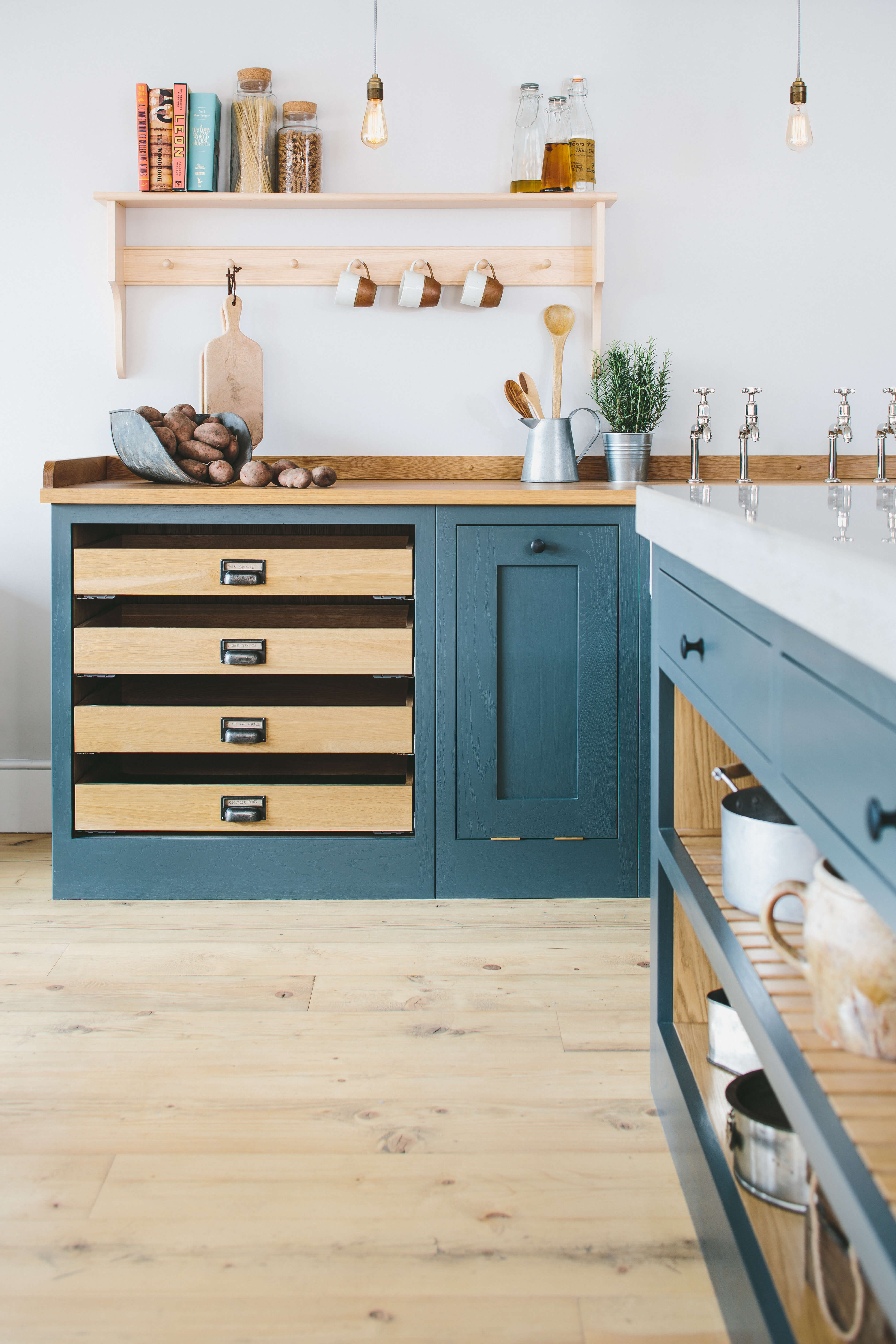 Sustainable Kitchens Showroom with Shaker shelves and Oak worktop
