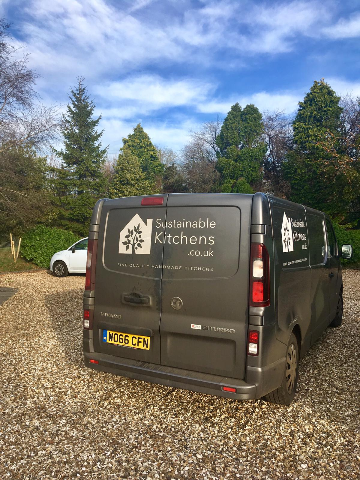 Sustainable Kitchens installation team van on site