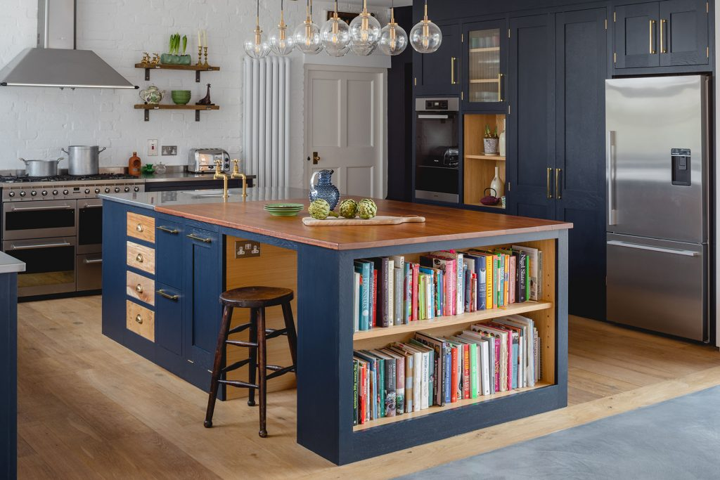 Eco Extension Shaker Kitchen with bespoke island unit holding cookery books