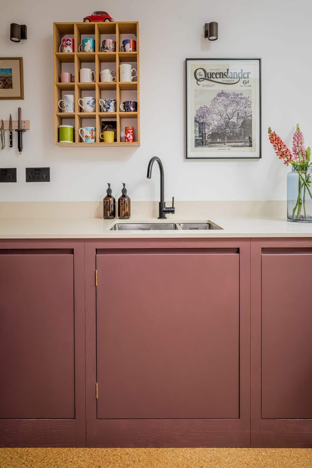 Honest Kitchens flat panel kitchen with quartz stone culture worktop and cork flooring