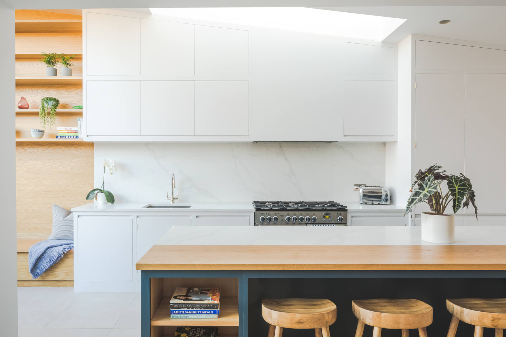Contemporary London Townhouse Kitchen with flatpanel ceiling height cabinetry