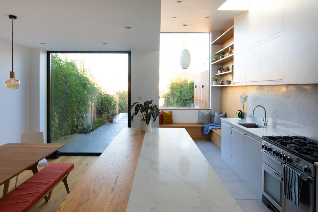 Contemporary London Townhouse with architect extension and flat panel kitchen
