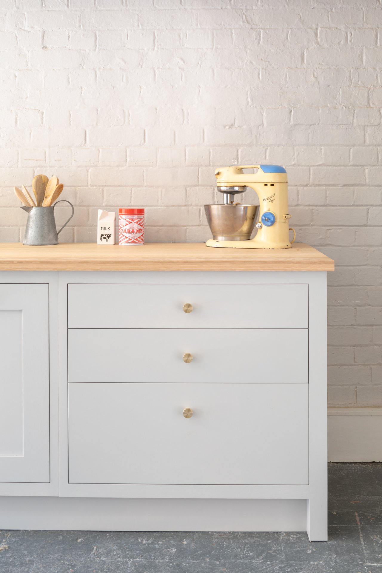 Honest Kitchens Grey Shaker Cabinets with drawers