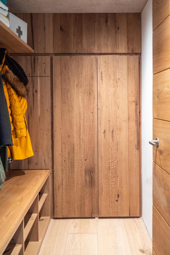 Reclaimed Wood, bespoke boot room by sustainable kitchens