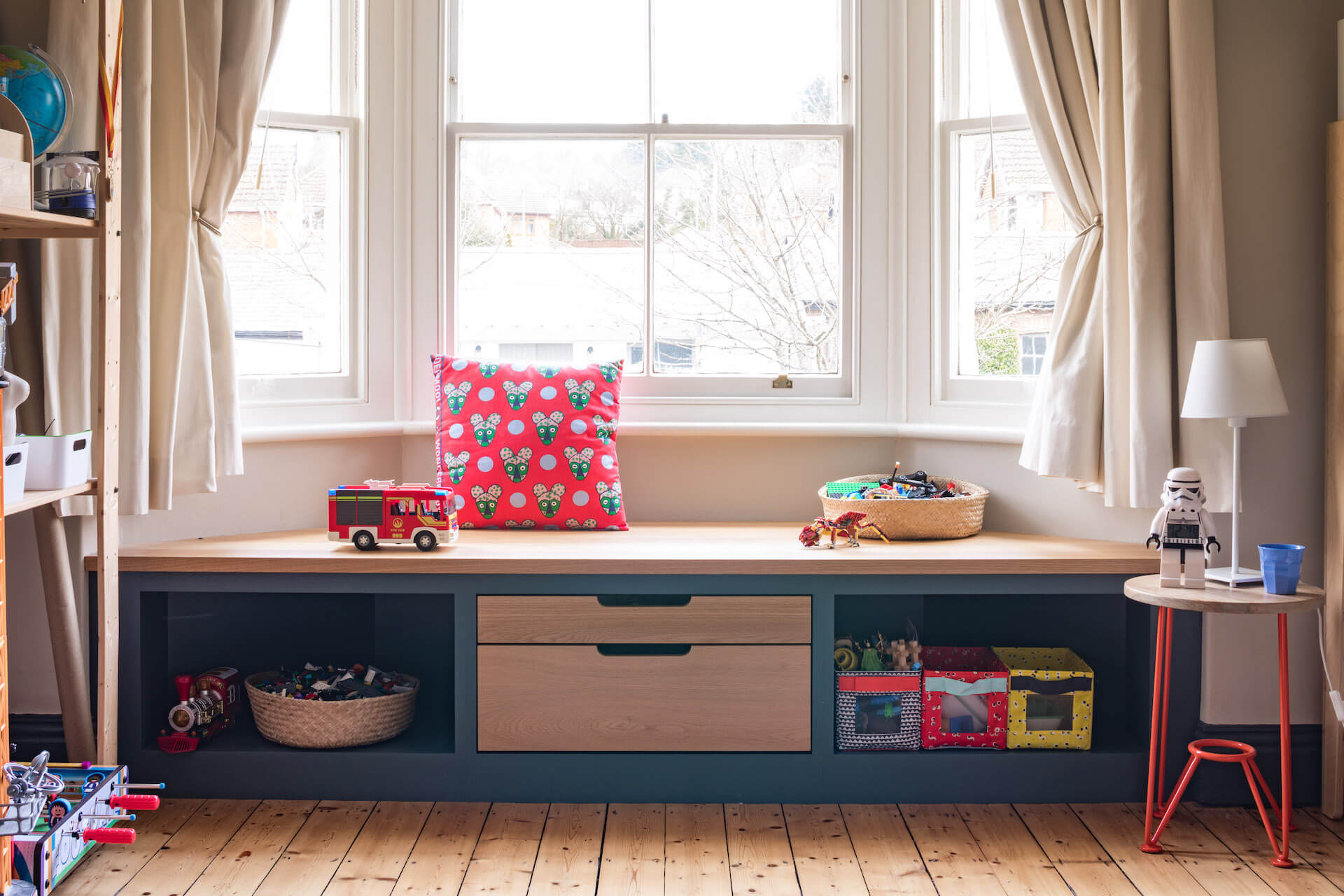 Alcove Storage bespoke window seat and storage for childs bedroom