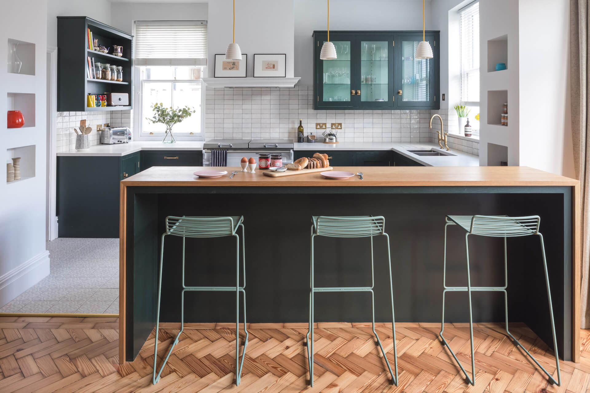 The Cardiff Green Shaker Kitchen with parquet flooring