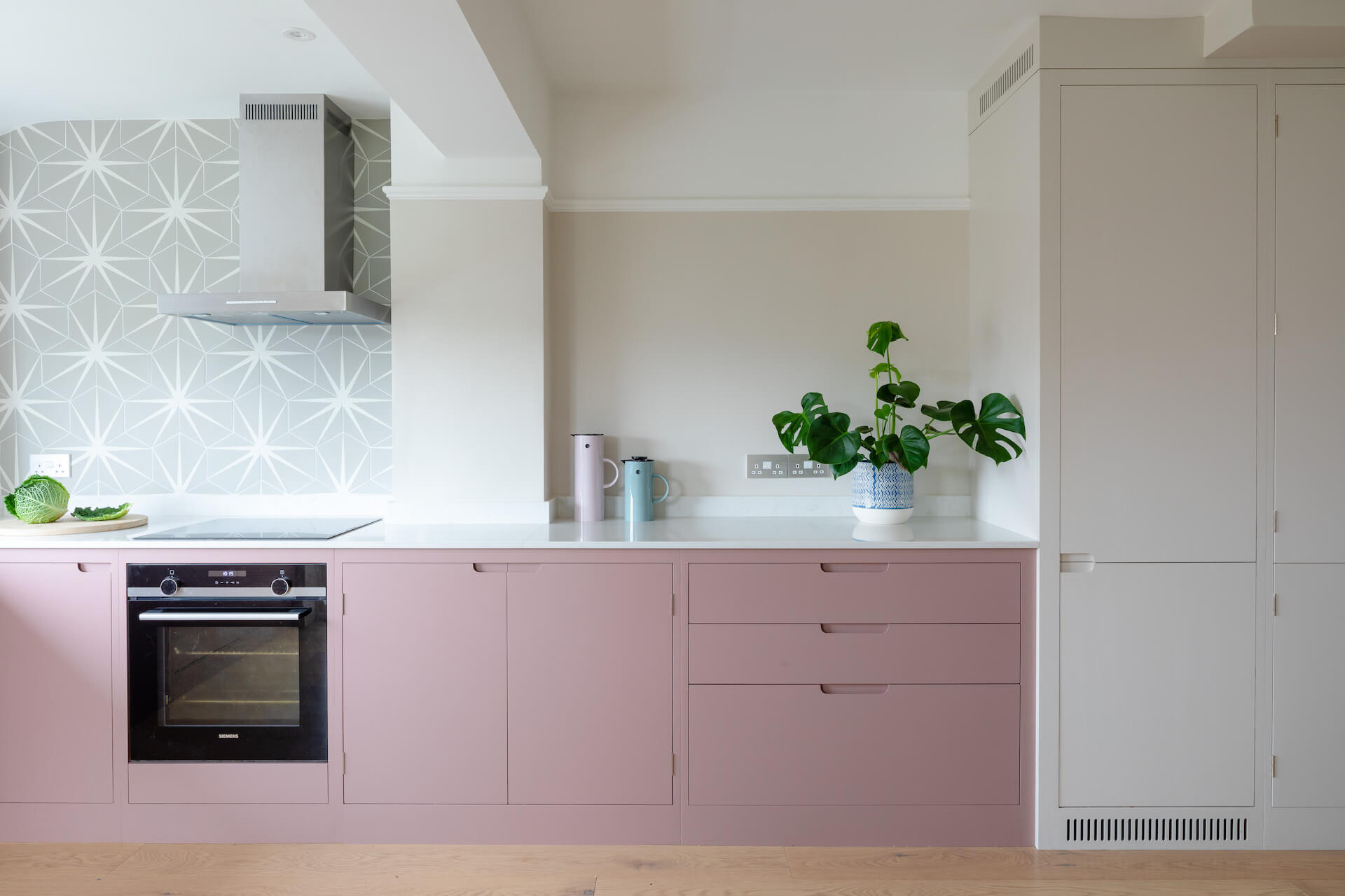 The Pink Kitchen - Sustainable Kitchens - Ca Pietra tiles with Farrow and Ball