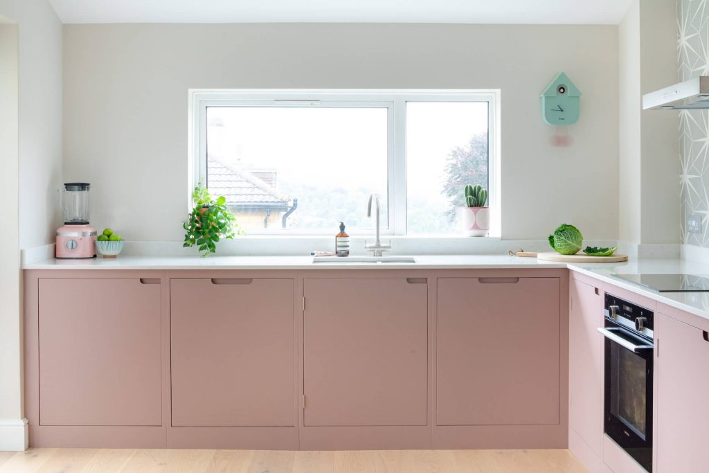 The Pink Kitchen Sustainable Kitchens - Pink flat panel contemporary kitchen in Bath