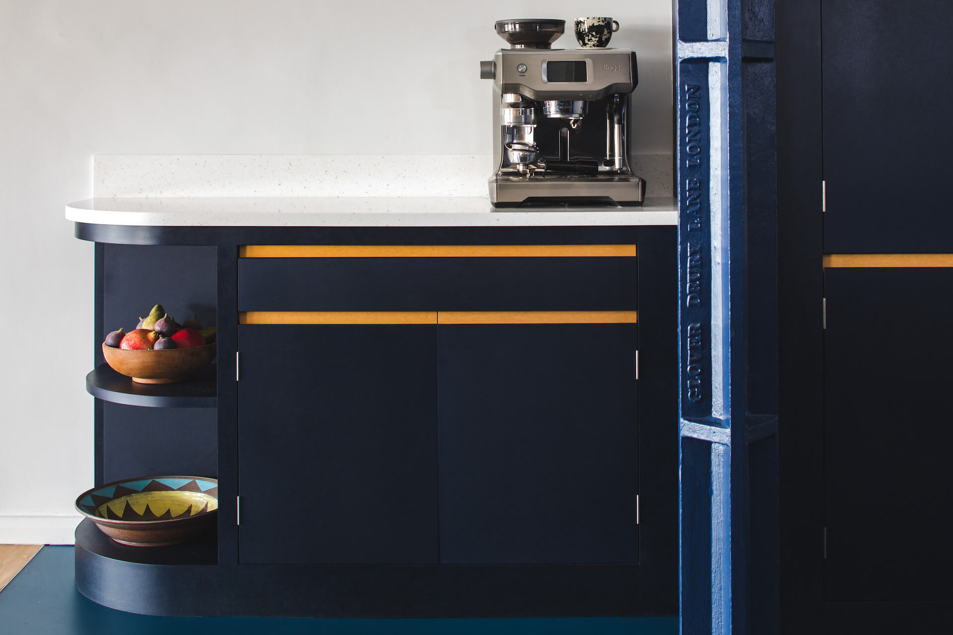 The Richlite Kitchen - Blue Canyon with Maple Valley handle details on oak core with corian worktop