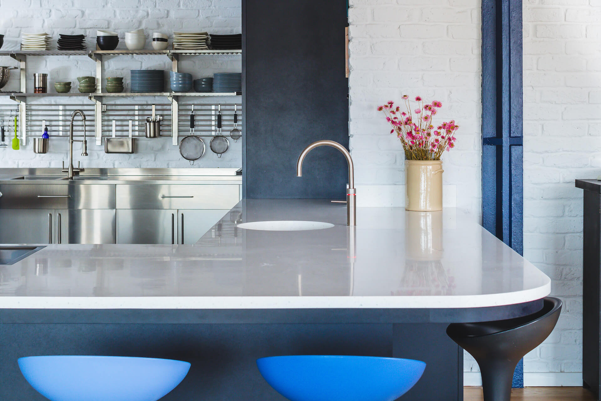 The Richlite Kitchen - Designer White Corian worktops with Quooker Tap